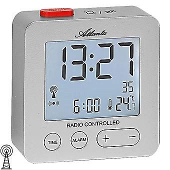 Atlanta 1882/19 alarm clock radio alarm clock digital silver with light temperature