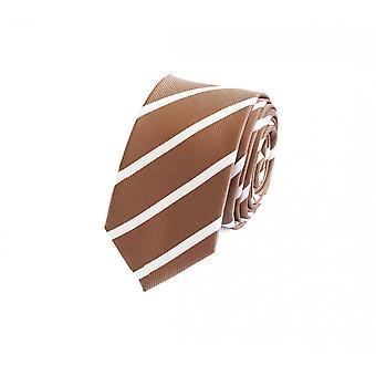 Tie slips slips slips 6cm lys brun gull hvit stripete Fabio Farini