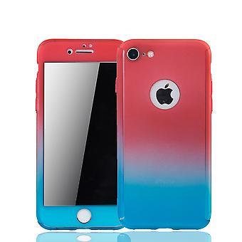 Apple iPhone 8 mobiele bescherming-case volledige gevaldekking van het tank bescherming glas rood / blauw