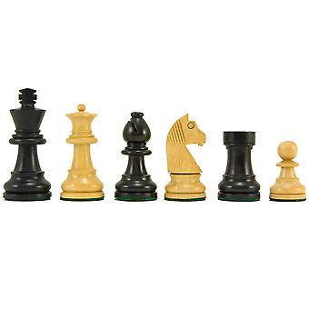 Down Head Knight Ebonised Staunton Chess Pieces 2.5 Inches