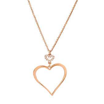 Orphelia plata 925 collar oro rosa corazón zirconio 40 + 4 cm