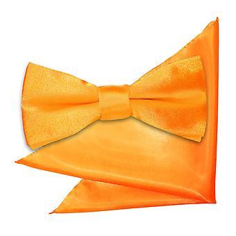 Fluoreszierend Orange Plain Satin Bow-Tie & Einstecktuch für jungen eingestellt