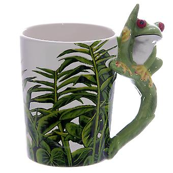 Frog figure white motif Cup 3-D, printed, hand-painted, 100% ceramic, in gift packaging.