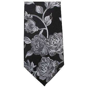 Knightsbridge Neckwear Bold Floral Tie - Black/Grey