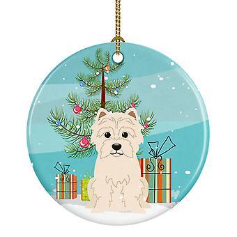 Carolines skarby BB4167CO1 Merry Christmas Tree Ornament ceramiczny Westie