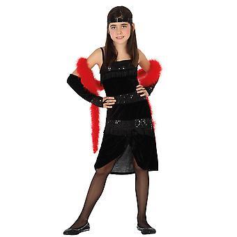 Los trajes de los niños niñas Charleston vestido negros para niños tamaño 5-6