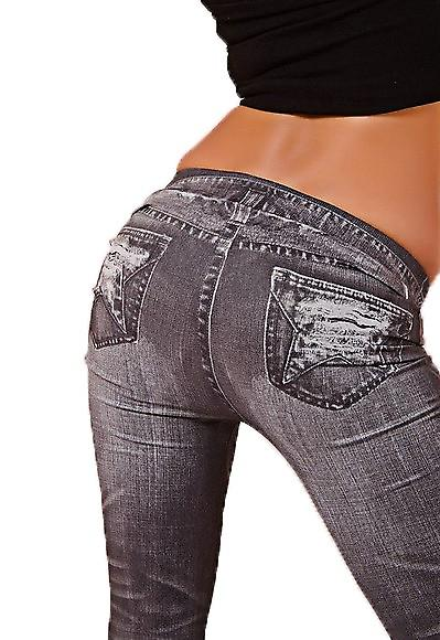 Waooh - Fashion - Leggings winter - print faded black jeans