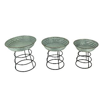 Galvanized Metal Mini Wash Tub Planter Stands Set of 3