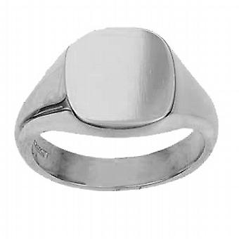 Platinum 950 14x13mm solid plain cushion Signet Ring Size R