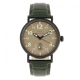 Elevon Von Braun Leather-Band Watch w/Date - Gunmetal/Green