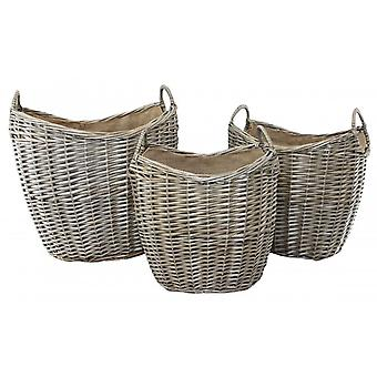 Set of 3 Scoop Neck Antique Wash Hessian Lined Wicker Log Basket