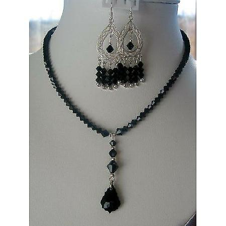 Jet Swarovski Crystals w/ Tear drop Pendant Necklace Set