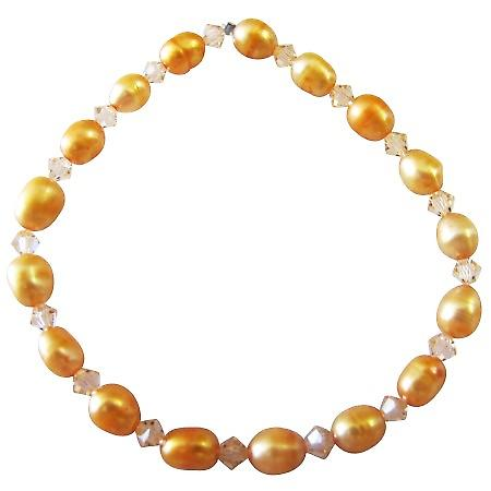 Orange Rice Freshwater Pearls w/ Peach Crystals Stretchable Bracelet