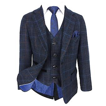 Paul Andrew Mens & Boys Check Tweed Retro Suit in Navy Blue