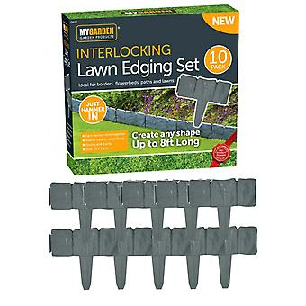 10pk Interlocking Lawn Edging Set Cobbled Stone Effect Borders Flowerbeds Paths