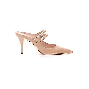 Miu Miu Pink Leather Slippers