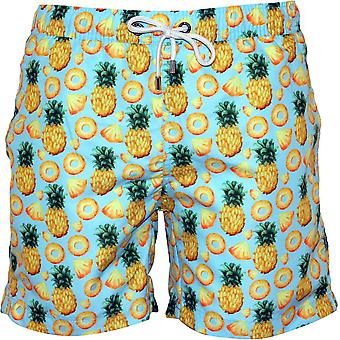 Franks Pineapples Print Swim Shorts, Sky Blue