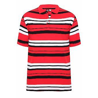 Rode, witte & zwarte streep korte mouw poloshirt