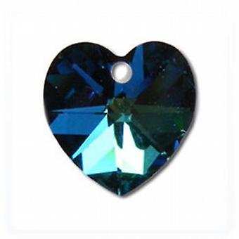 Toc Bermuda Blue Crystal Heart Pendant on 18 Inch Snake Chain