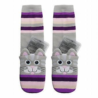 Aroma Home Childrens Click & Heat Gel Cosy Socks: Cat