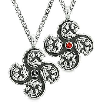Supernatural Wolf Paw Amulet Powers Love Couples or Best Friends Black Red Crystals Pendant Necklaces