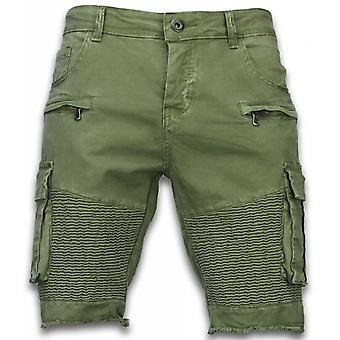 Menns shorts-slim fit biker Pocket jeans-grønn