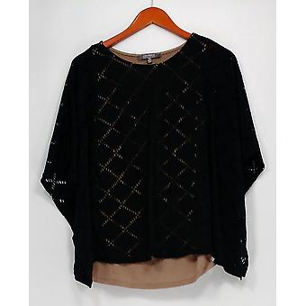Lisa Rinna Collection Top Knit Caftan with Laser Cut Black S8301