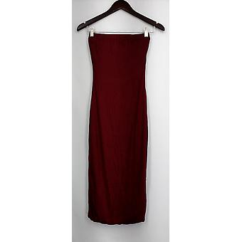 Image Nation Skirt Stretch Knit Elastic Waist Maxi Style Red Womens