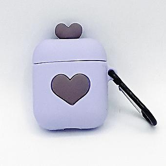 Cartoon Silicone Case pour Apple Airpods-love heart-purple-with lobster clasp-with carabiner
