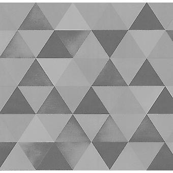 Grijs zilver geometrische driehoeken behang metallic getextureerde plakken muur vinyl P + S
