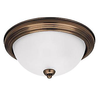 Sea Gull Lighting 77065-829 Flush Mount Satin Etched Glass Shades Russet Bronze