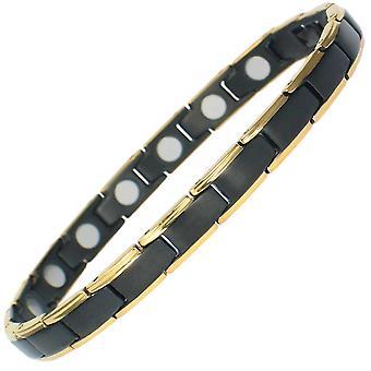 MPS® BAHAMA Schwarz & Gold Titan Magnetarmband + kostenloser Link-Tool zum Entfernen