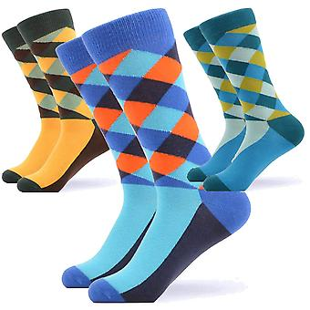 Men's bright cross pattern gift 3 pairs of socks