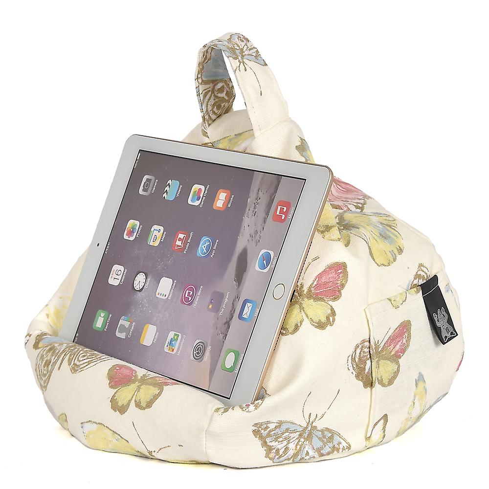 iBeani iPad, Tablet & eReader Bean Bag Stand / Cushion - Butterfly Cream