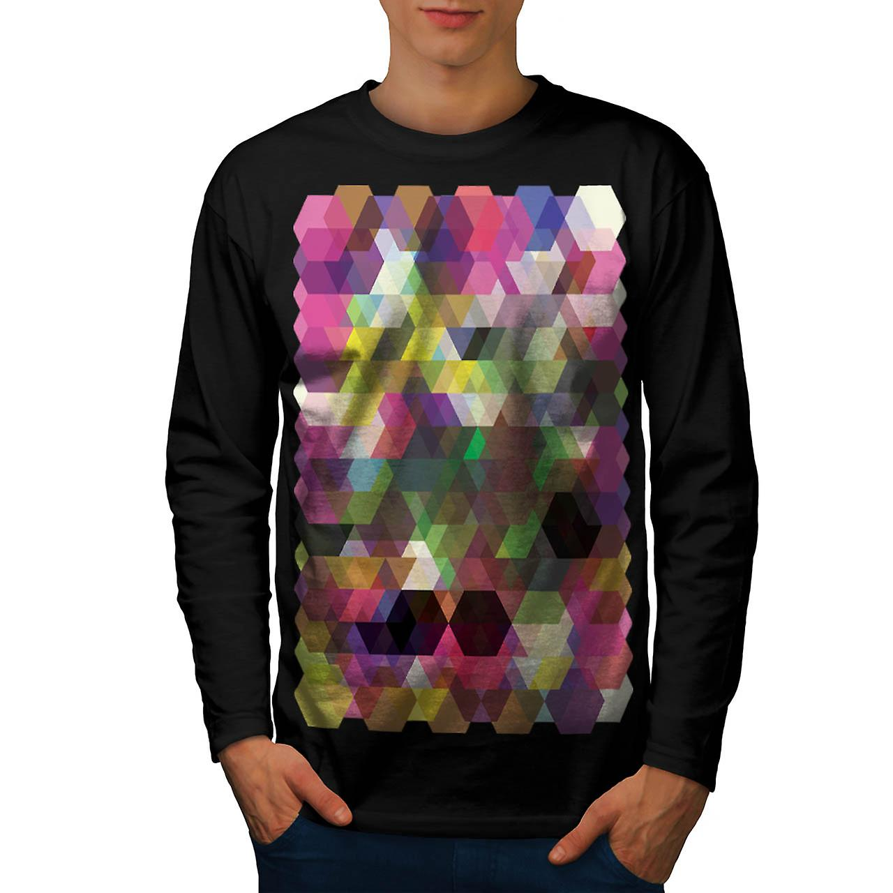 Polygon Colour Shape Crazy Pattern Men Black Long Sleeve T-shirt | Wellcoda