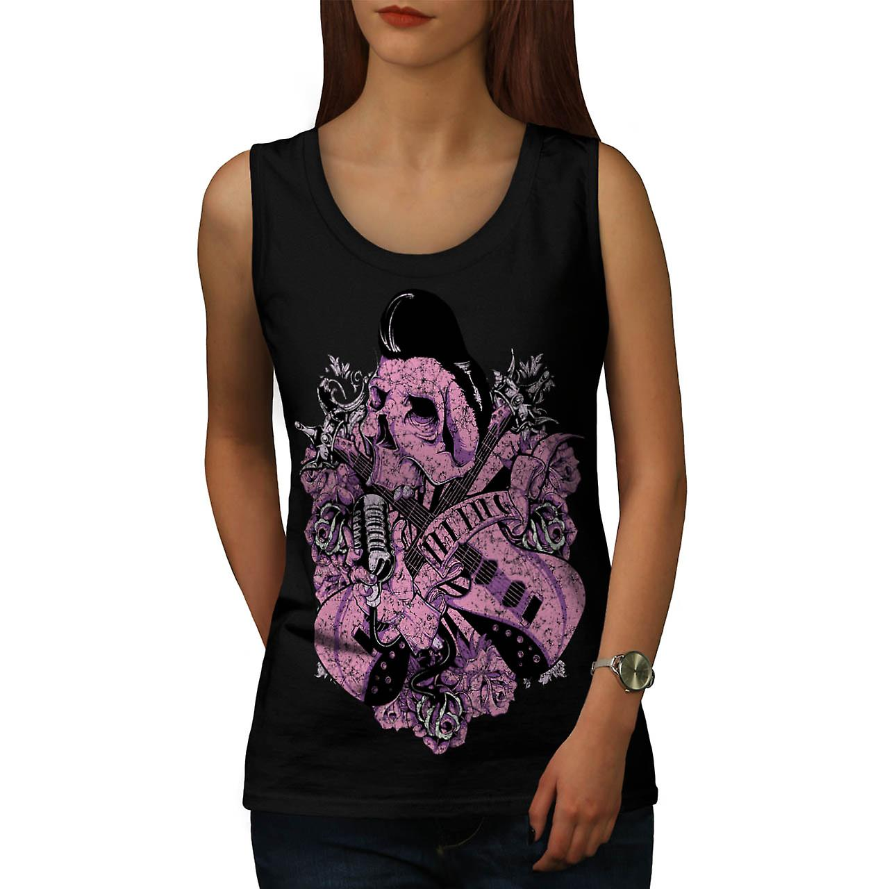 Music Guitar Skull Acoustic Song Women Black Tank Top | Wellcoda