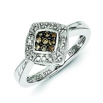 Sterling Silver Champagne Diamond and Small Diamond Shape Ring - Ring Size: 6 to 8