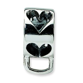 Sterling Silver Polished Antique finish Reflections Heart Loop Click-on Bead Charm