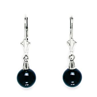 14k White Gold Black 7x7mm Onyx Ball Drop Leverback Earrings - Measures 27x7mm