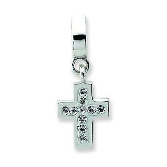 Sterling Silver Enamel Polished Reflections Clear Crystal Cross Dangle Bead Charm