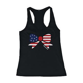 Tapa del tanque de la mujer diseño gráfico - diseño de la cinta de bandera americana