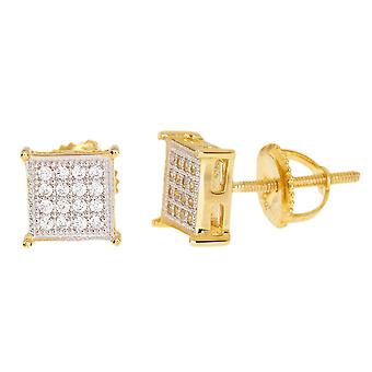 925 sterling silver MICRO PAVE earrings - SQUARE 7 mm gold