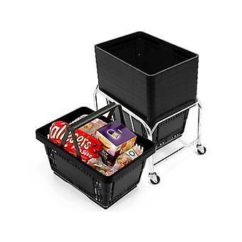 10 Black Plastic Shopping Baskets with Mobile Basket Stacker - 21L