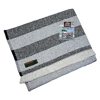 Recycled Navy & Silver Crosshatch Stripe Rug or Throw