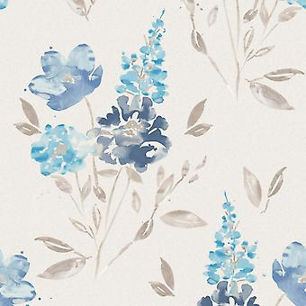 Flower Wallpaper Floral Abstract Watercolour Glitter Vinyl White Blue Taupe