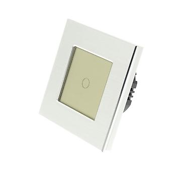 I LumoS Silver Brushed Aluminium 1 Gang 1 Way Remote Touch LED Light Switch Gold Insert