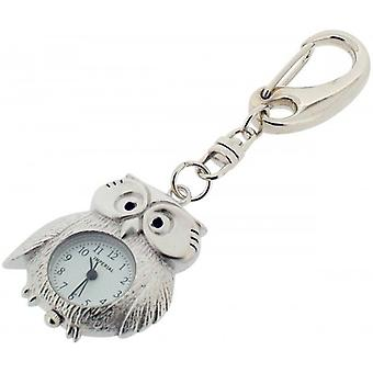 Gift Time Products Owl Clock Key Ring - Silver