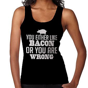 You Either Like Bacon Or You Are Wrong White Women's Vest