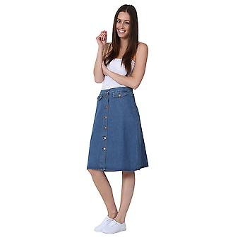 Mid-length Denim Skirt Button Front Denim Midi Skirt