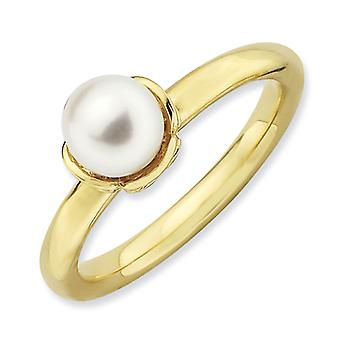 2.5mm Sterling Silver Polished White Freshwater Cultured Pearl Gold-Flashed Ring - Ring Size: 5 to 10